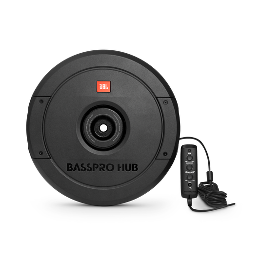 """JBL BassPro Hub - Black - 11"""" (279mm) Spare tire subwoofer with built-in 200W RMS amplifier with remote control. - Hero"""
