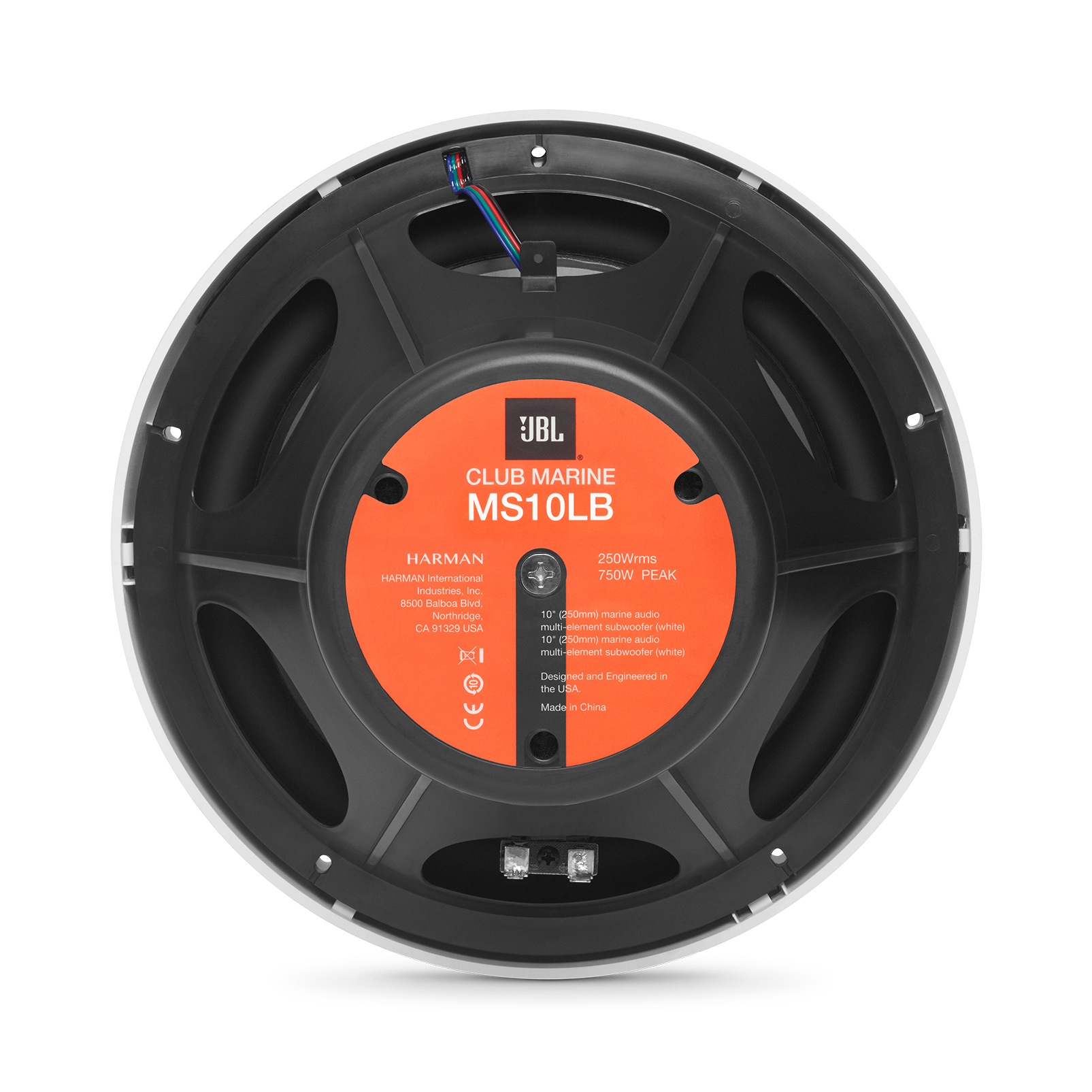 "Club Marine MS10LB - Black Matte - Club Marine MS10LB—10"" (250mm) marine audio multi-element subwoofer with RGB lighting – Black - Back"