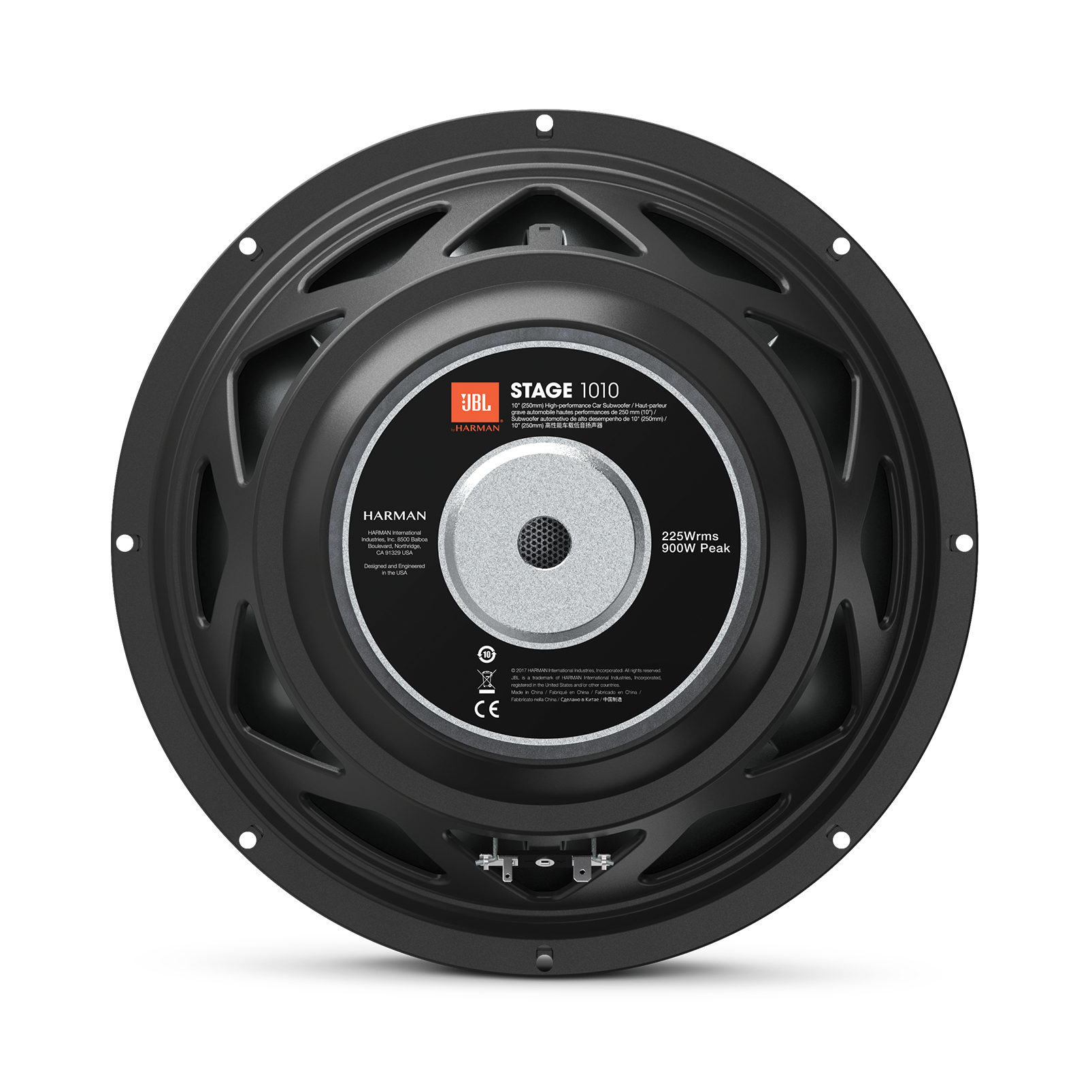 """JBL Stage 1010 Subwoofer - Black - 10"""" (250mm) woofer with 225 RMS and 900W peak power handling. - Back"""